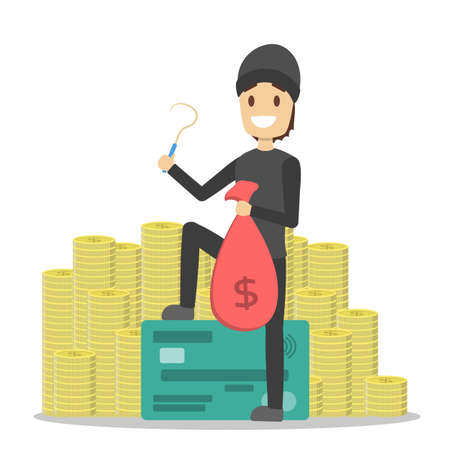 Thief or burglar with money. Man in the mask with bag full of money and credit card. Criminal character. Isolated vector illustration in cartoon style