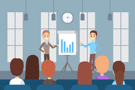Man making business presentation in front of group of people. Presenting business plan on seminar. Flat vector illustration