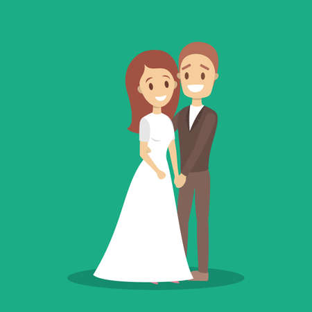 Couple wedding dance. Bride and groom. Romantic people and white dress for ceremony. Isolated flat vector illustration