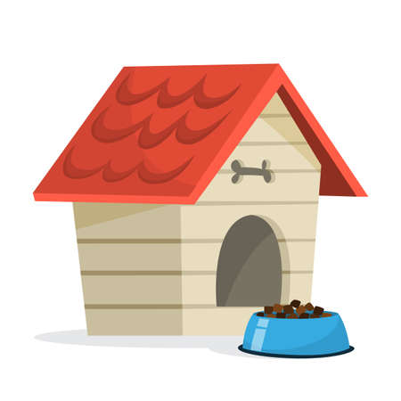 Empty dog kennel with red wooden roof. House for domestic animal pet. Isolated flat vector illustration