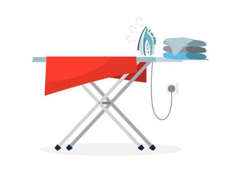 Fer et pile de vêtements sur une planche à repasser. Idée de travail domestique et de lessive. Notion de travaux ménagers. Illustration vectorielle plane Vecteurs