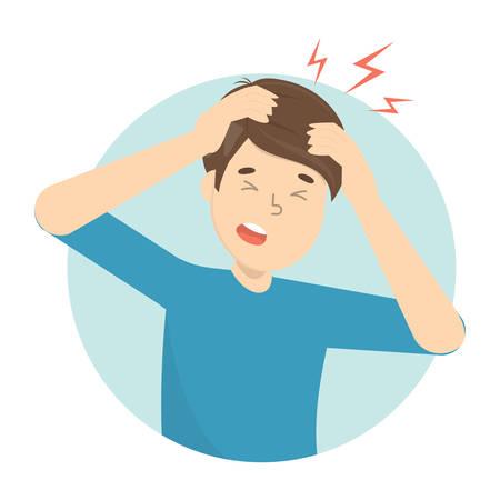 El hombre sufre de dolor en la cabeza. Dolor de cabeza y estrés por la enfermedad. Migraña y mal humor. Ilustración de vector plano aislado