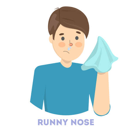Sick man with runny nose a symptom of flu, cold or allergy. Idea of health and medical treatment. Isolated flat vector illustration Vector Illustration