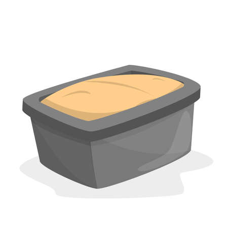 Bread loaf pan full of dough. Cooking bread at home. Kitchen tool and equipment. Isolated flat vector illustration