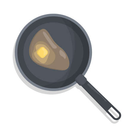 Butter in a frying pan. Cooking food in the skillet using oil. Black tool and margarine inside. Isolated flat vector illustration