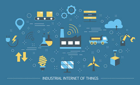 Industrial internet of things concept. Business automation and futuristic technology. Wireless connection and smart logistics. Set of colorful icons. Isolated flat vector illustration