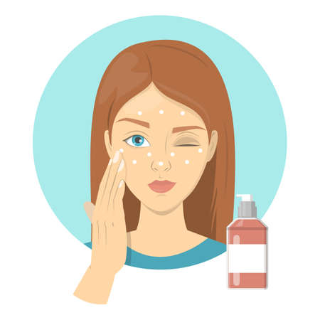 Woman applying face primer before foundation for perfect makeup. Beautiful girl care about skin and use sponge for cosmetic. Preparing skin for contouring. Isolated illustration in cartoon style