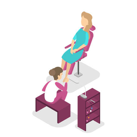 Manicure fashion salon interior. Woman sitting in the chair and making professional pedicure. Nail polish and painting. Beauty procedures. Isolated vector isometric illustration Foto de archivo - 126746671