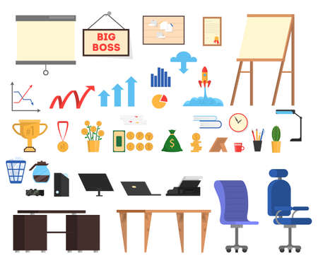 Office tools set. Collection of business icon