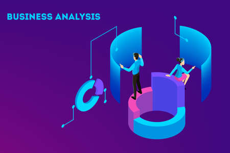 Business concept. Work wih data and financial operations. Audit, brainstorm and strategy. Modern technology and artificial intelligence. Isolated vector isometric illustration Ilustrace