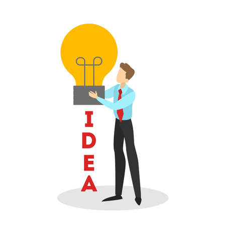 Businessman in suit with light bulb. Person with idea. Inspiration and success. Isolated vector illustration in cartoon style