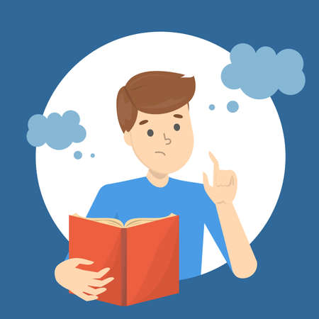 Man think with speech bubble around. Male character thought. Isolated flat vector illustration Illustration