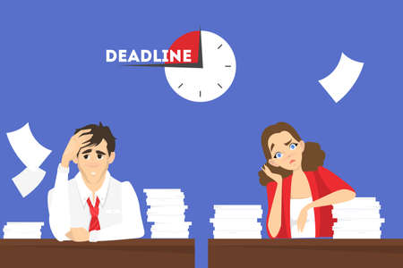 Man and woman at the desk with pile of document. Tired worker in stress. Idea of deadline. Isolated vector illustration in cartoon style