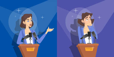 Fear of public speaking or glossphobia. Woman is afraid of giving presentation to the audience. Social anxiety and mental health disorder. Psychology concept. Isolated flat vector illustration 일러스트