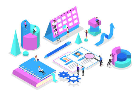 Business concept. Idea of strategy and achievement in teamwork. Brainstorm and training. Isolated vector isometric illustration Reklamní fotografie - 113938411