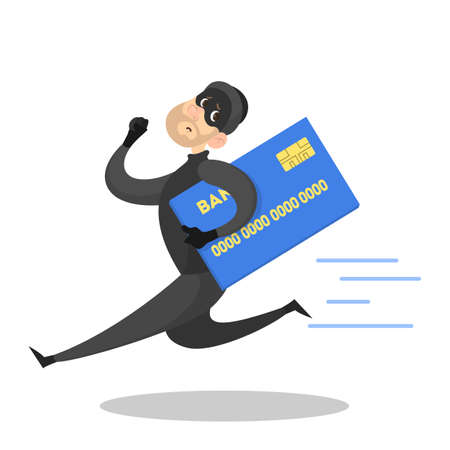 Thief or burglar with credit card. Man in the mask. Criminal character. Isolated vector illustration in cartoon style