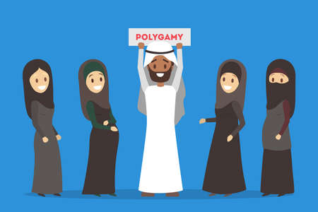 Polygamy arabic family. Girl in hijab. Man with many wifes Illustration