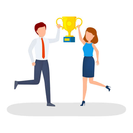 Happy people with golden trophy cup celebrate success. Winner team. Businessman achieved goal. Isolated cartoon vector illustration Illustration