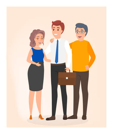 Happy family father, mother and adult son in business suit stand together. Young man with briefcase. Isolated flat vector illustration Ilustração Vetorial