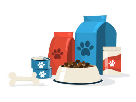 Food for pet. Dog bowl and package with paw sign on it. Meal for domestic animal. Isolated flat vector illustration