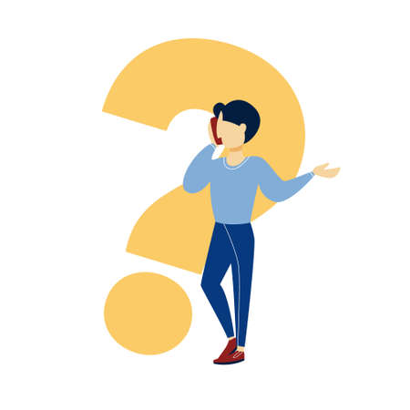 Man standing at big question mark and think. Person search for solution. Confused guy. Isolated vector illustration in cartoon style Illustration
