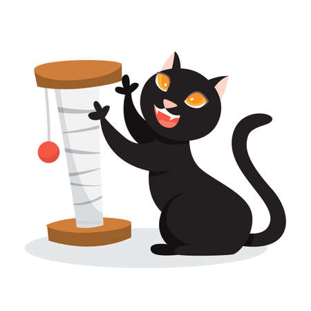 Cute funny cat playing with a toy. Adorable pet having fun. Cute kitten. Isolated vector illustration in cartoon style