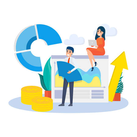 Business concept. Work wih data and financial operations. Audit, brainstorm and strategy. Modern technology. Isolated vector flat illustration Ilustrace