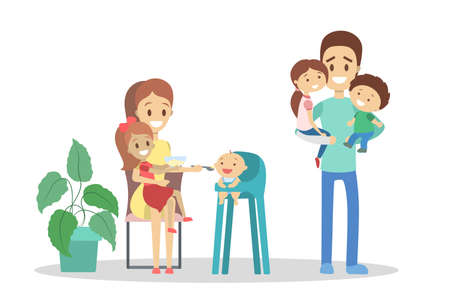 Family on the kitchen feed little baby. Mother and father with children. Big family. Kid on the chair eat from the spoon. Dinner time. Isolated flat vector illustration