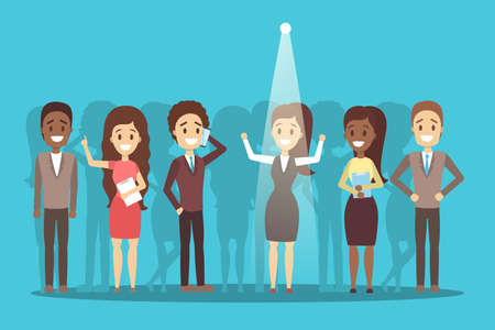 Recruitment concept. Idea of choosing a candidate to hire. Human resources management. Flat vector illustration Vettoriali