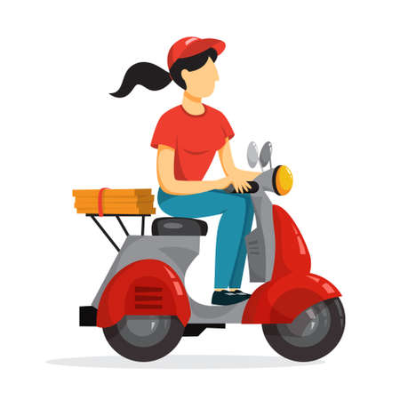 Delivery service concept. Courier with pizza on moped. Person in uniform on scooter. Isolated flat vector illustration Ilustração Vetorial