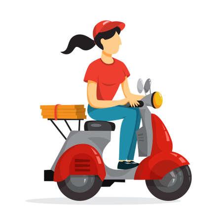 Koncepcja usługi dostawy. Kurier z pizzą na motorowerze. Osoba w mundurze na skuterze. Ilustracja na białym tle płaski wektor Ilustracje wektorowe