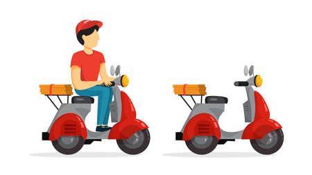 Concetto di servizio di consegna. Corriere con pizza in motorino. Persona in uniforme su scooter. Illustrazione vettoriale piatto isolato