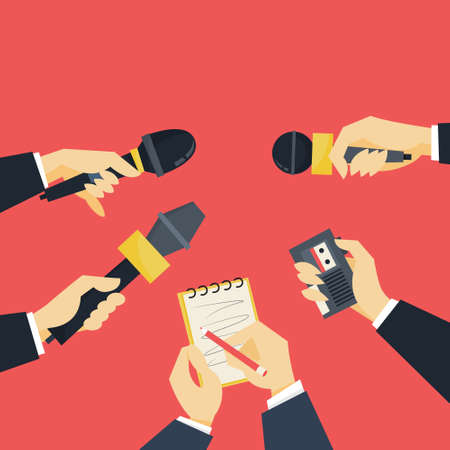 Journalist concept. Hand holding microphone. Reporter take interview for mass media. Press conference. Isolated flat vector illustration