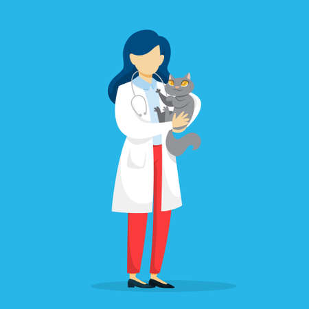 Veterinarian in uniform holding a pet cat. Medical specialist with animal. Occupation in medicine. Isolated vector flat illustration