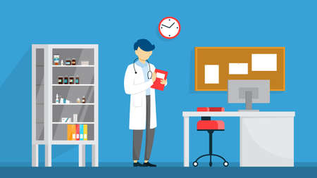 Veterinary clinic room interior. Animal treatment. Doctor in suit. Vector flat illustration