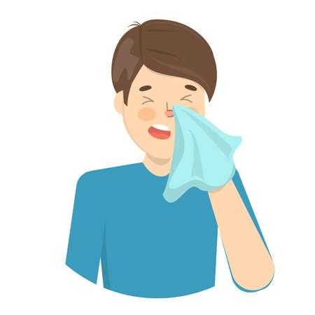 Mann niesen. Kranker Kerl im Fieber. Grippe- oder Erkältungssymptom. Vorstellung von Krankheit und Gesundheitsversorgung. Flache Vektorillustration