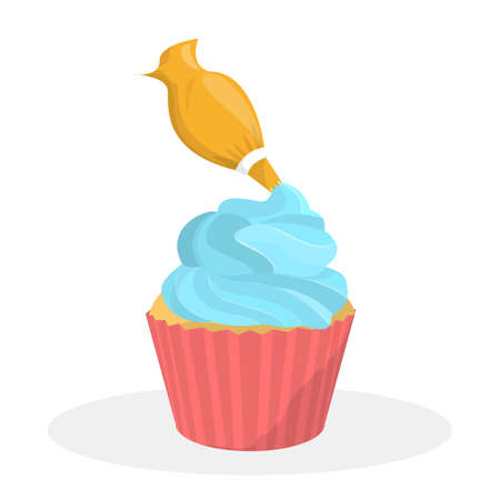 Sweet tasty cupcake for birthday party celebration. Delicious dessert with cream. Putting cream on muffin. Isolated flat vector illustration 向量圖像