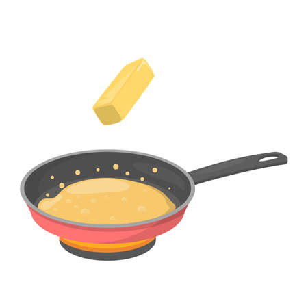 Beurrer dans une poêle. Cuisson des aliments dans la poêle avec de l'huile. Outil noir et margarine à l'intérieur. Illustration vectorielle plane isolée