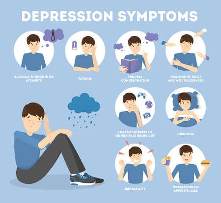 Segni e sintomi di depressione. Infografica per le persone Vettoriali