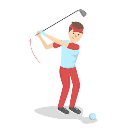 Comment jouer au golf guide pour les débutants. Règles de base. Homme joueur sur le terrain avec ballon. Leçon de golf. Illustration vectorielle plane