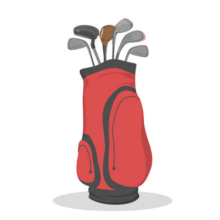 Red golf bag for clubs. Sport game equipment. Outdoor hobby with expensive tool. Flat vector illustration