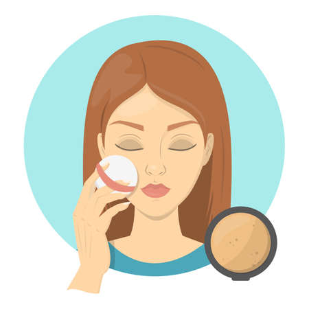 Woman applying face powder for perfect makeup. Beautiful girl care about skin and use sponge for cosmetic. Isolated vector illustration in cartoon style