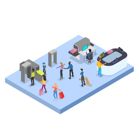 Airport with passenger. Security control. People with passport and baggage. Travel and tourist concept. Isolated vector isometric illustration