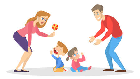Little children cry and paretns try to calm them. Mother, father and sad kid. Isolated vector isometric illustration