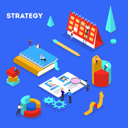 Business concept. Idea of strategy and achievement in teamwork. Brainstorm and training. Isolated vector isometric illustration Ilustrace