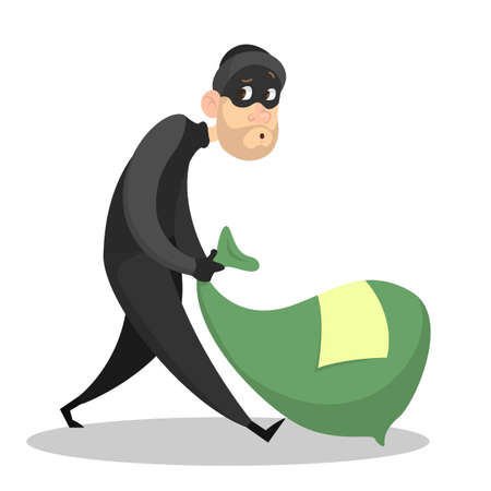 Thief or burglar with money. Man in the mask with bag full of money. Criminal character. Isolated vector illustration in cartoon style