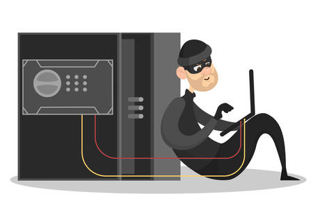 Thief steal personal data. Cyber crime and hacking