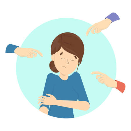 People blame girl. Guilt and shame. Sad female character with hands around pointing at her. Ashamed woman. Flat vector illustration