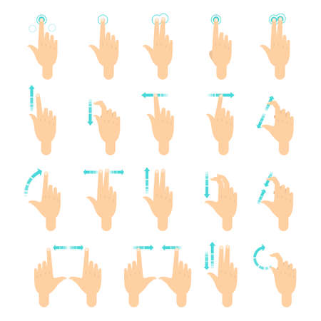 Hand gesture for the screen of mobile phone. Finger movement for touch screen. Hand palm icon. Isolated vector illustration in cartoon style