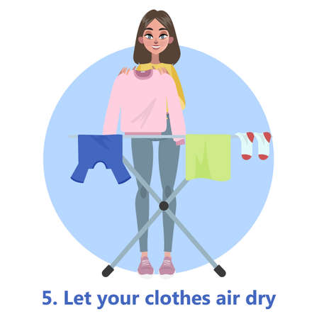 Woman put her clothes to dry on the rope. Clothing on the washing line. T-shirt and sock, towel. Flat vector illustration
